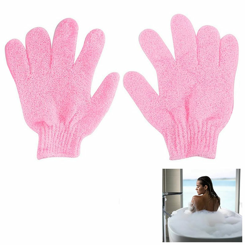 1 pair Exfoliating Body Scrub Gloves Shower Bath Mitt Loofah Skin Massage Sponge Spa - Pink