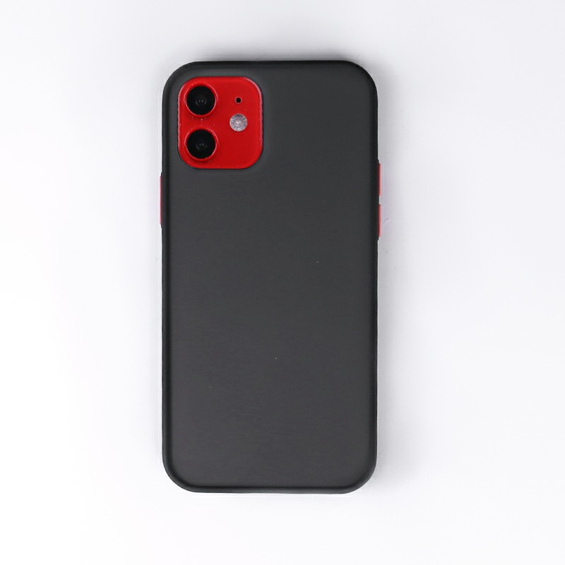 Contrast Color Key Frosted Feel Back Case Phone Cover for iPhone 12 Mini - Black