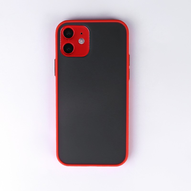 Contrast Color Key Frosted Feel Back Case Phone Cover for iPhone 12 - Red