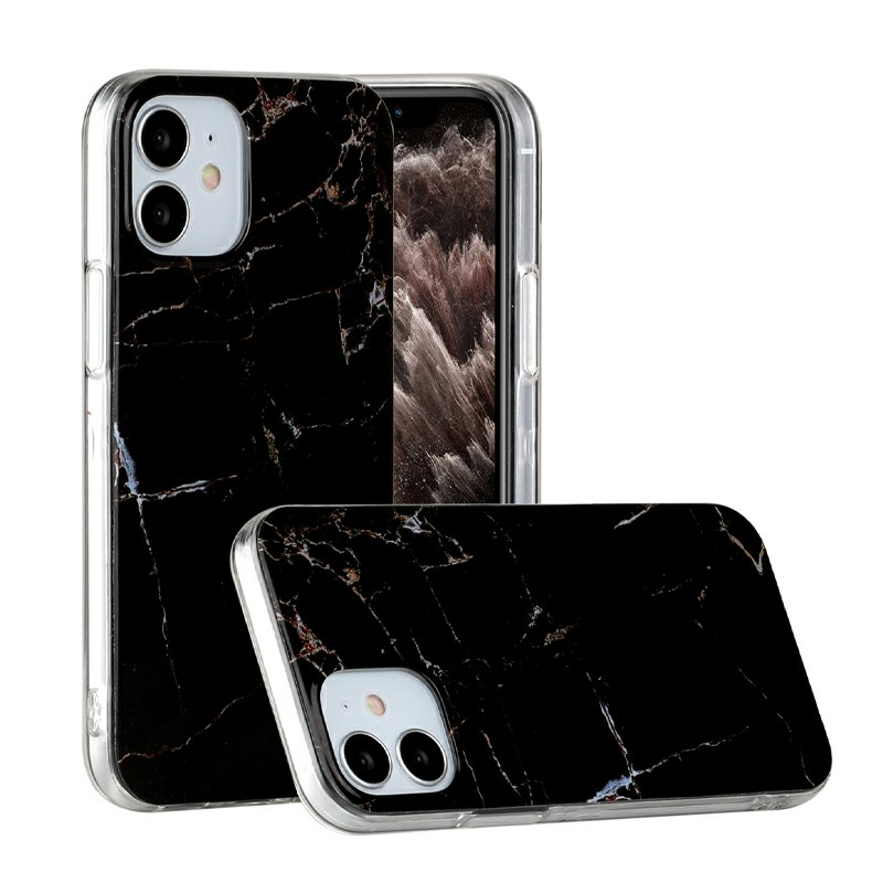 Marble Design Shockproof Soft Silicone Rubber TPU Case for iPhone 12 Mini - Black