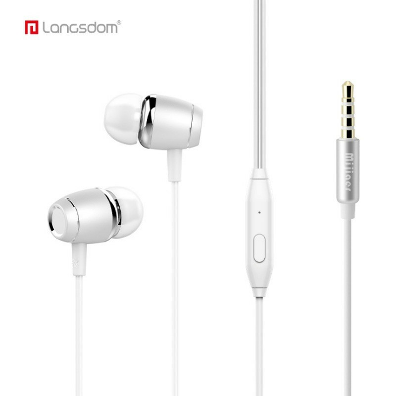 M22 In-Ear 3.5m Wired Earphones with Microphone Strong Bass-driven Stereo Sound - White