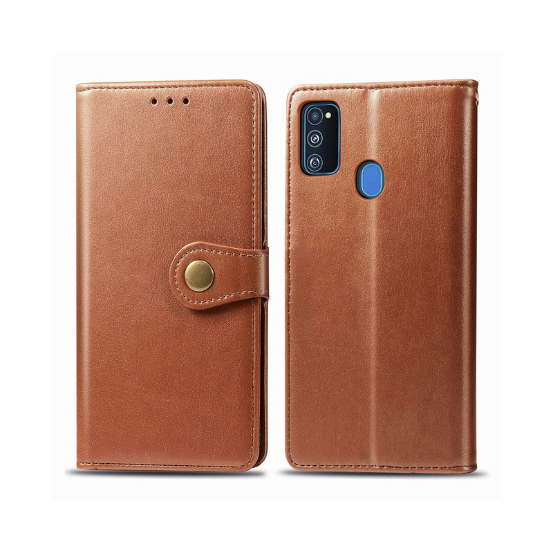 Magnetic PU Leather Wallet Flip Stand Case Cover for Samsung Galaxy M30S - Brown