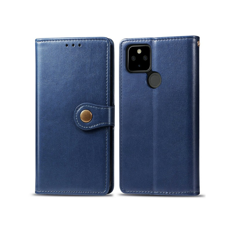 Magnetic PU Leather Wallet Flip Stand Case Cover for Google Pixel 5 - Blue