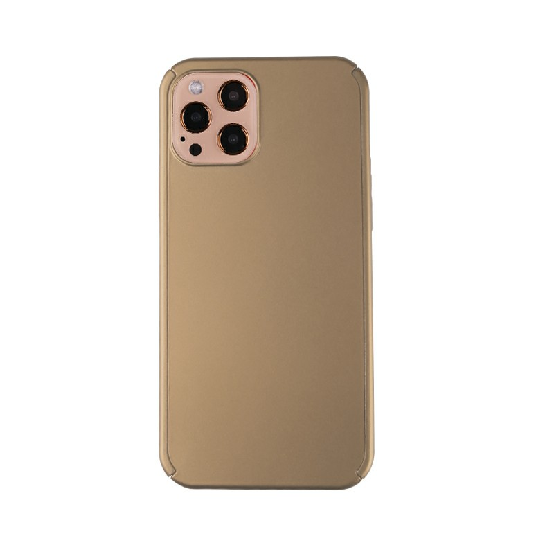 Full Coverage Hard Thin Case Back Cover with Tempered Film for iPhone 12 Pro - Gold