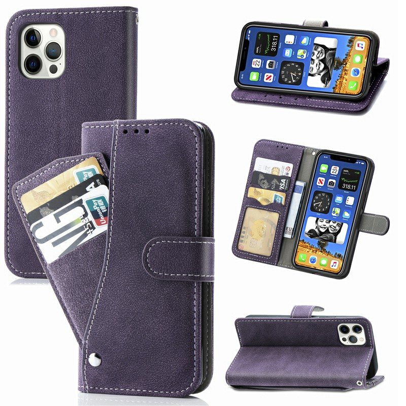 Matte TPU Soft Wallet Case Cover Phone Protective Shell for iPhone 12 Pro Max - Purple