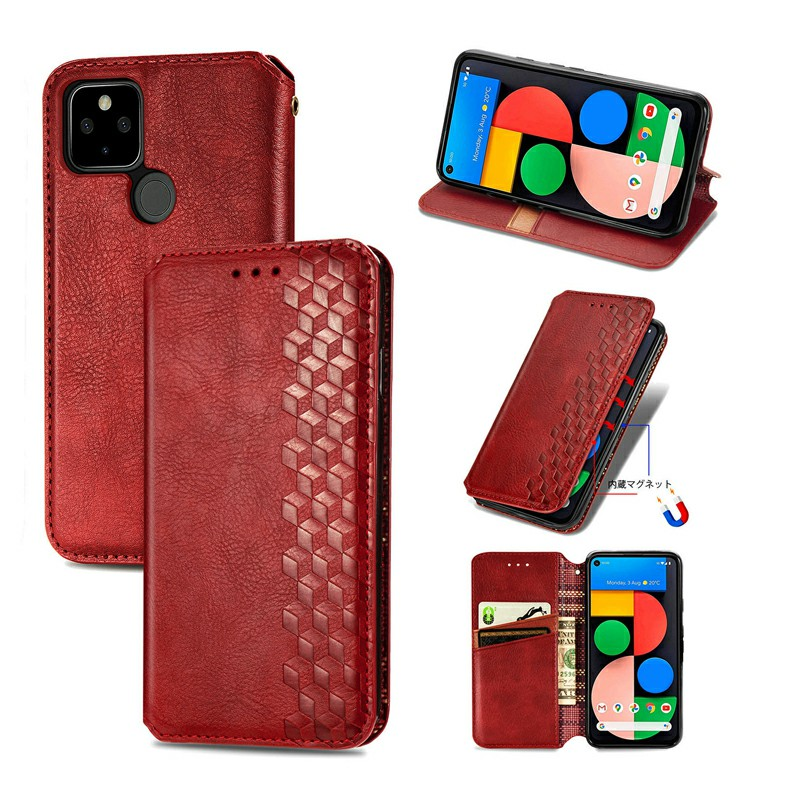 Magnetic Buckle PU Leather Wallet Case Cover for Google Pixel 5 - Red