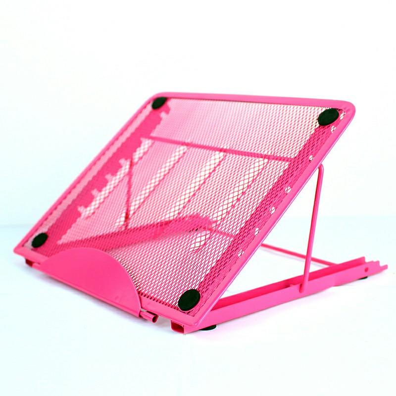 Adjustable Laptop Stand Folding Portable Mesh Desktop iPad Holder Office Support - Pink