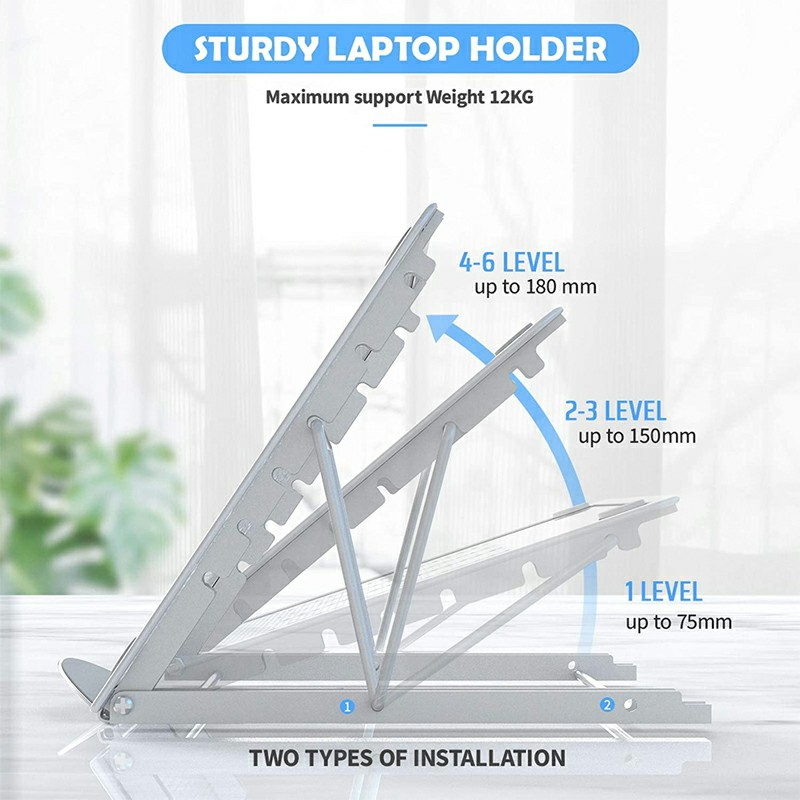 Adjustable Laptop Stand Folding Portable Mesh Desktop iPad Holder Office Support - Grey