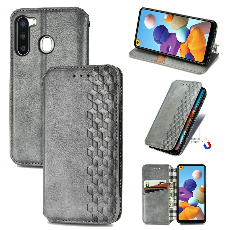 Magnetic Buckle PU Leather Wallet Flip Stand Case Cover for Samsung Galaxy A21 - Grey