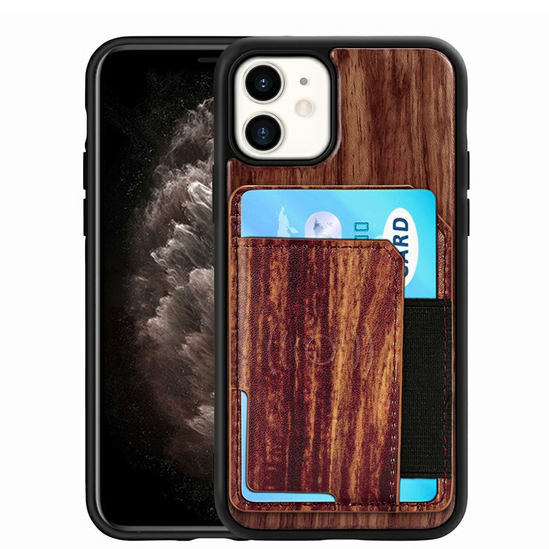 Real Natural Wood Phone Case Protective Back Cover for iPhone 11 - Palisander