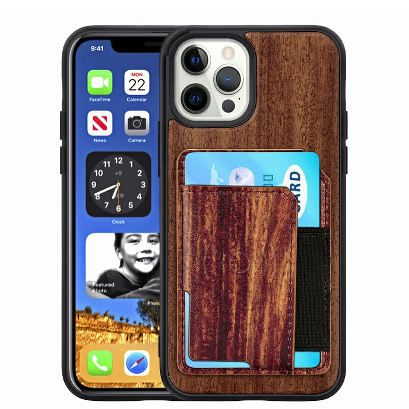 Real Natural Wood Phone Case Protective Back Cover for iPhone 12/12 Pro 6.1 inch - Palisander
