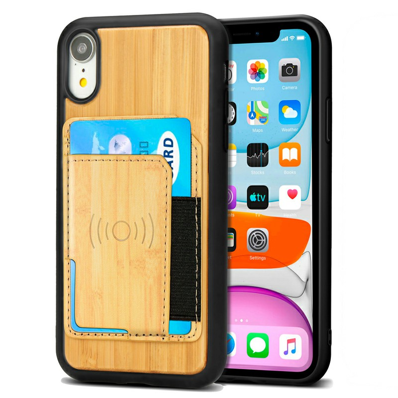 Real Natural Wood Phone Case Protective Back Cover for iPhone XR - Bamboo