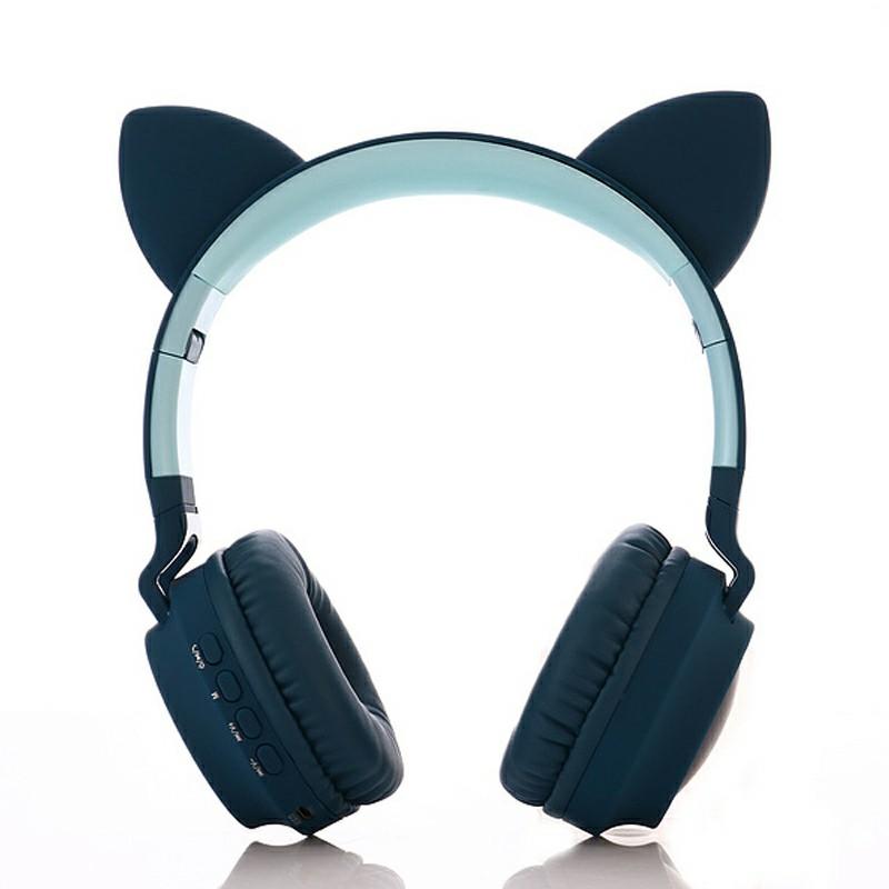 Wireless Cat Ear Bluetooth 5.0 Stereo Bass Headset LED Lights Earphone - Dark Blue