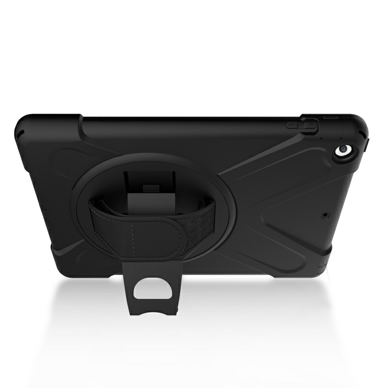 Heavy Duty Rugged PC Silicone Case with Rotating Bracket for Apple iPad 5 iPad Air - Black