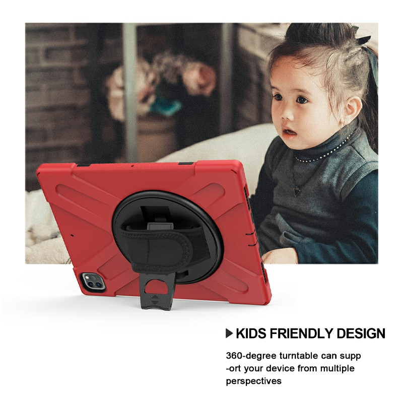 Shockproof Stand 360 Degree Rotation Back Cover Bags for iPad Pro 12.9 inch 2018/2020 - Red