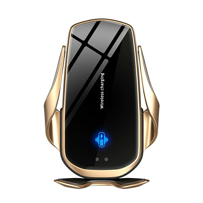 F2 Automatic Clamping Wireless Car Charger Air Vent Mount Holder - Gold