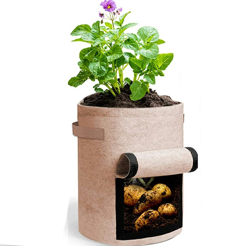 Plant Grow Bags Potato Fruit Vegetable Garden Planter Growing Bag 5 Gallon - Coffee