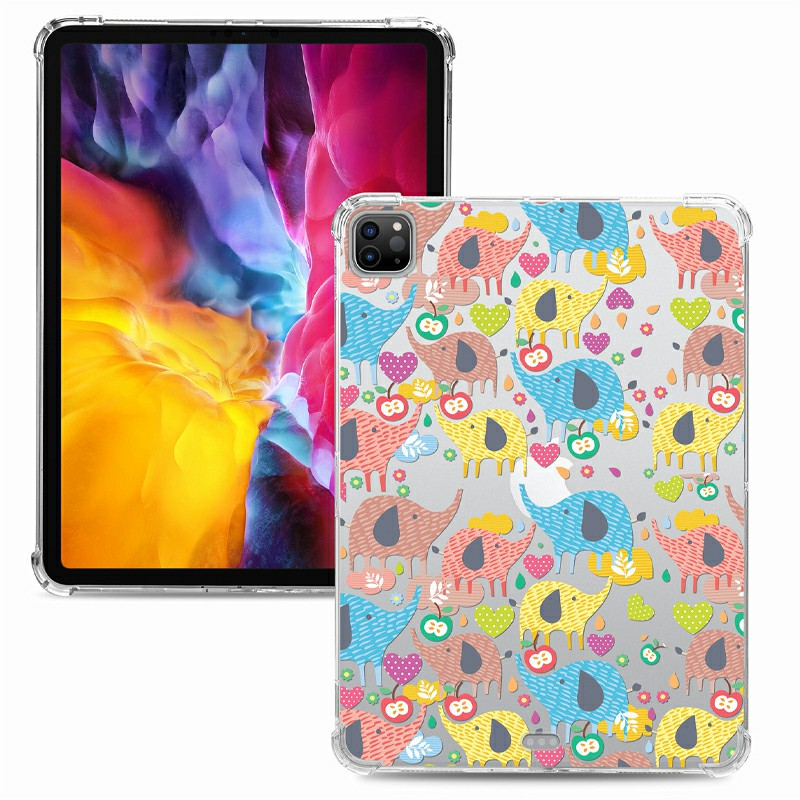 Soft TPU Painted Protective Back Cover Snap-on Case for iPad Pro 12.9 inch - Colorful Elephant