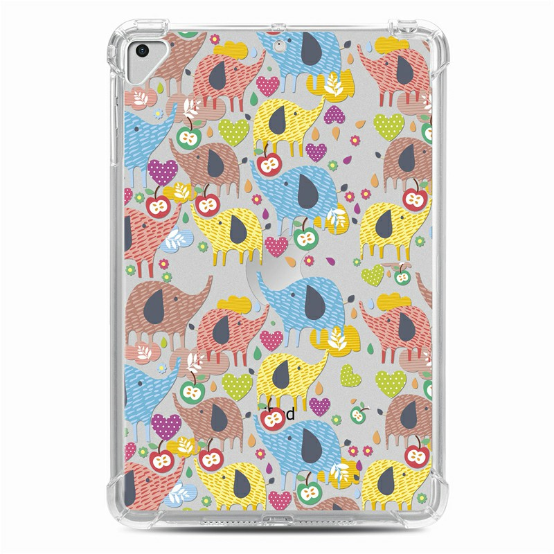 Soft TPU Painted Protective Back Cover Snap-on Case for iPad 9.7 inch - Colorful Elephant