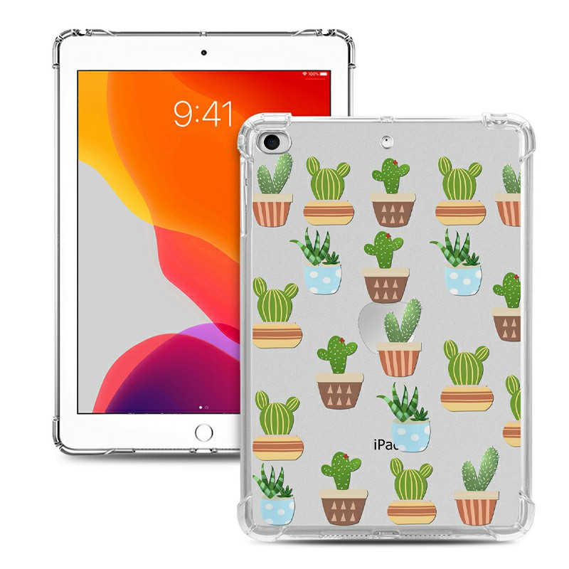 Soft TPU Painted Protective Back Cover Snap-on Case for iPad Mini 1/2/3/4/5 - Cactus