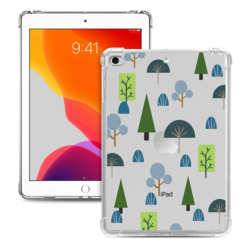Soft TPU Painted Protective Back Cover Snap-on Case for iPad Mini 1/2/3/4/5 - Geometric Plant