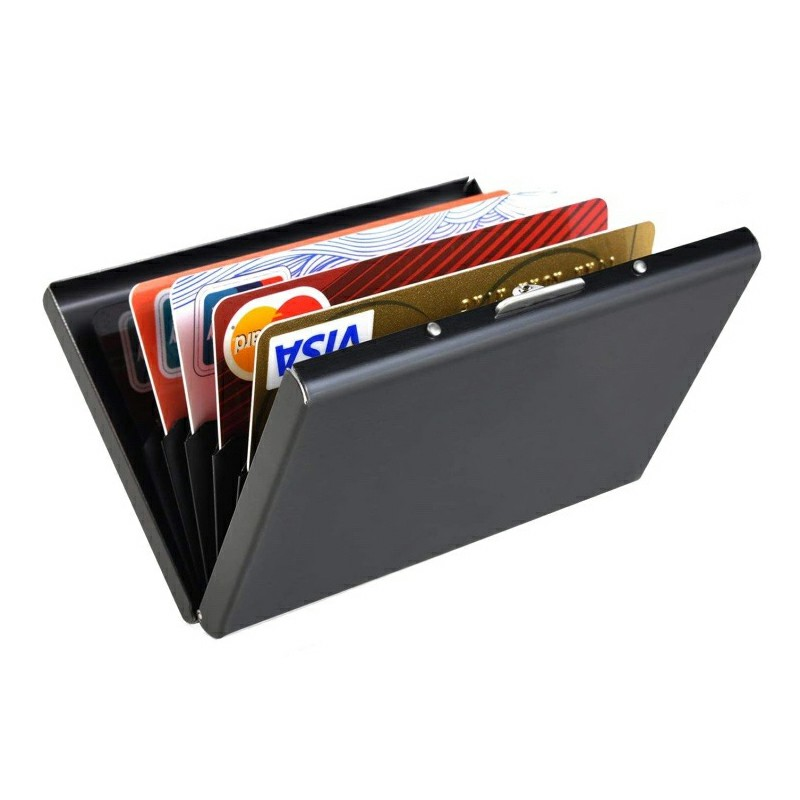 Metal RFID Blocking Wallet Slim Anti-scan Contactless Credit Card Holder - Black