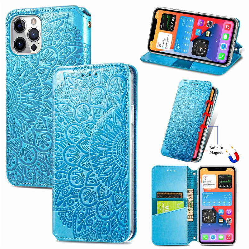 Magnetic PU Leather Wallet Case Flip Card Cover for iPhone 12/12 Pro - Blue