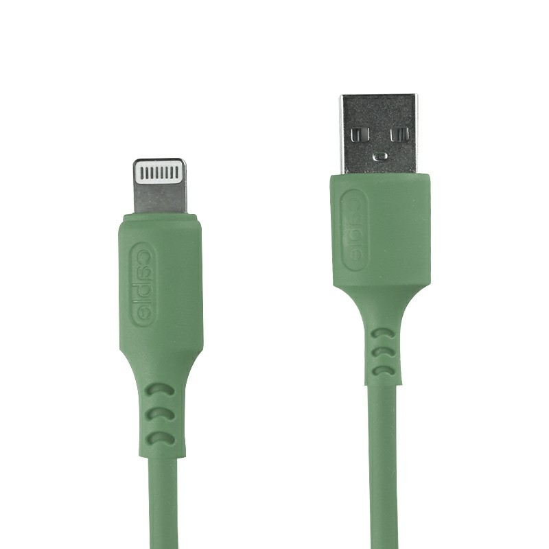 1m Silicone Material Ultra Soft iPhone 8 pin Charging Cable - Green