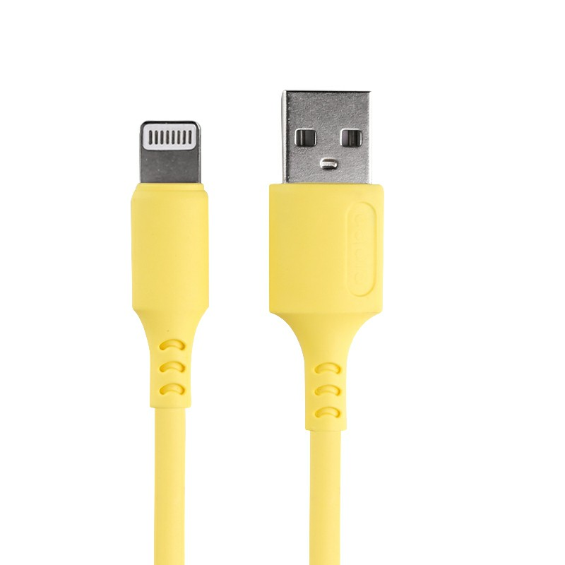 1m Silicone Material Ultra Soft iPhone 8 pin Charging Cable - Yellow