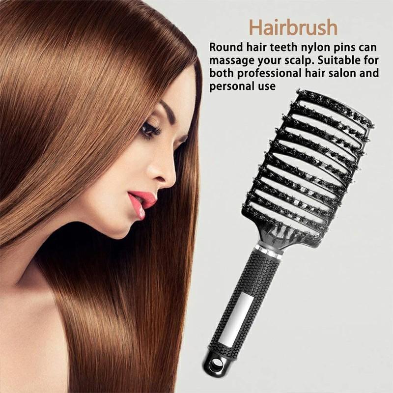 Natural Boar Bristle Detangling Nylon Brush Large Curved Curly Hair Styler - Black