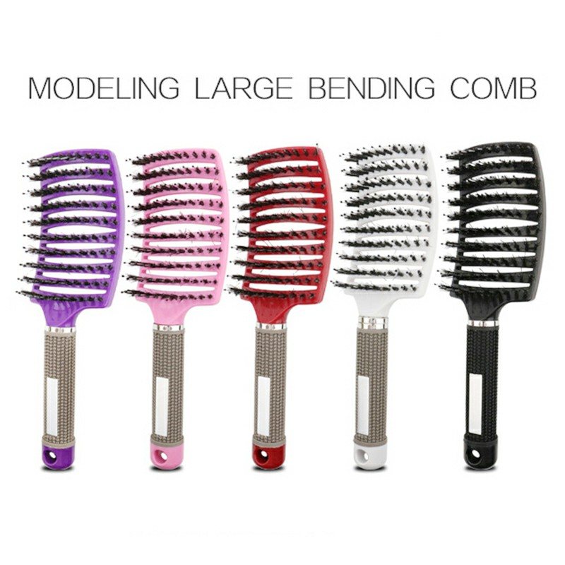 Natural Boar Bristle Detangling Nylon Brush Large Curved Curly Hair Styler - Pink