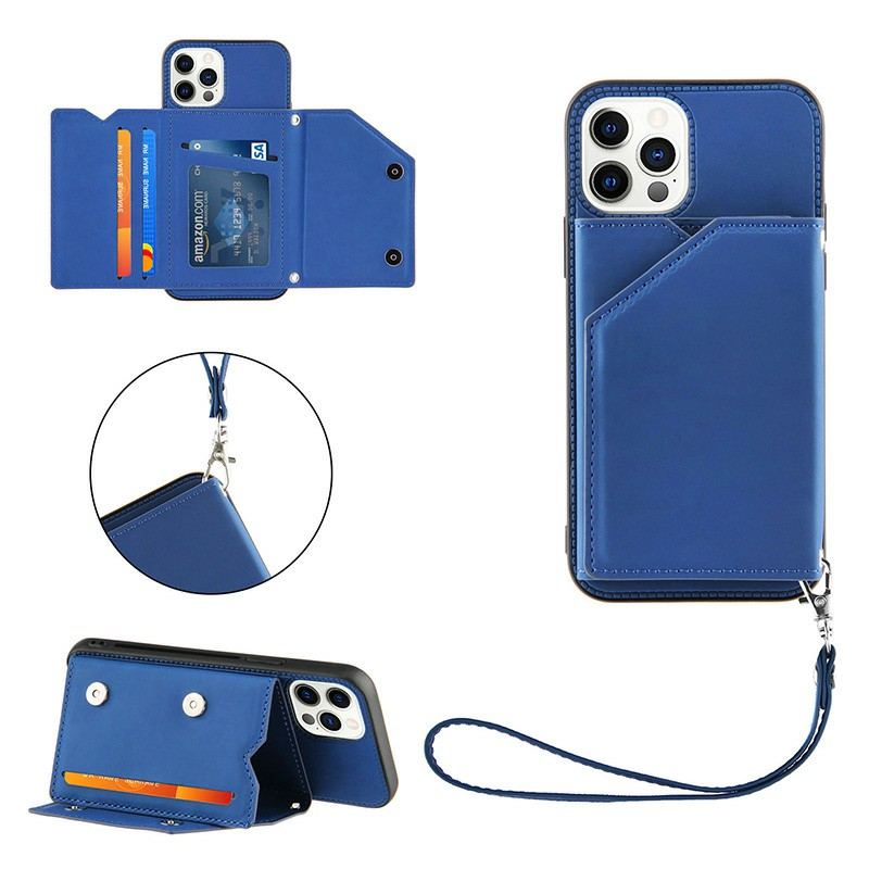 Wallet Card Case Leather Flip Stand Cover Case for iPhone 12 Pro - Blue