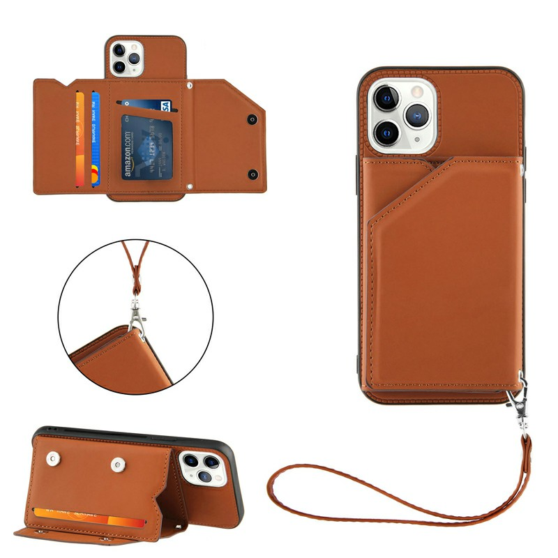 PU Leather Folio Stand Cover Case with Lanyard for iPhone 11 Pro Max - Brown