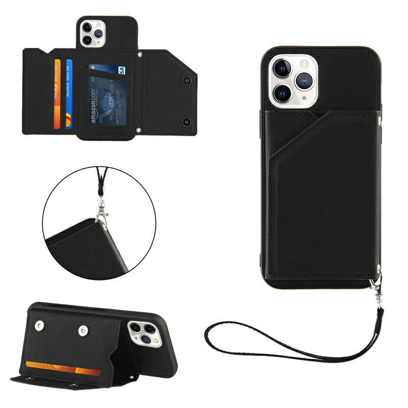 PU Leather Folio Stand Cover Case with Lanyard for iPhone 11 Pro - Black