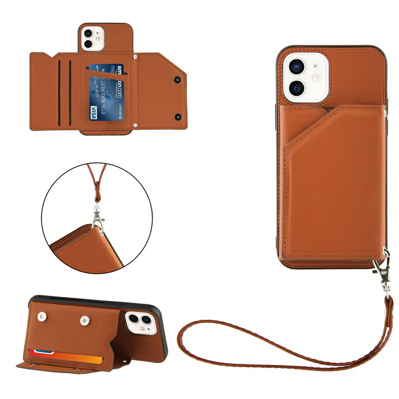PU Leather Folio Stand Cover Case with Lanyard for iPhone 11 - Brown