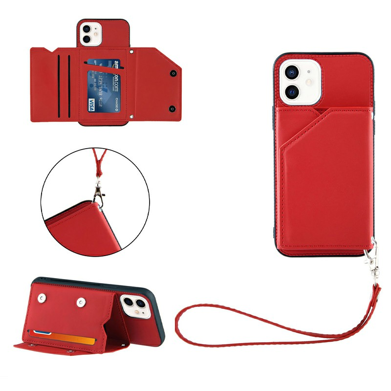 PU Leather Folio Stand Cover Case with Lanyard for iPhone 11 - Red