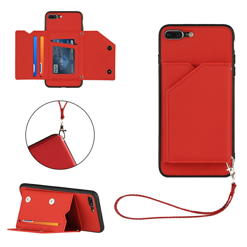 PU Leather Folio Stand Cover Case with Lanyard for iPhone 7 Plus and iPhone 8 Plus - Red