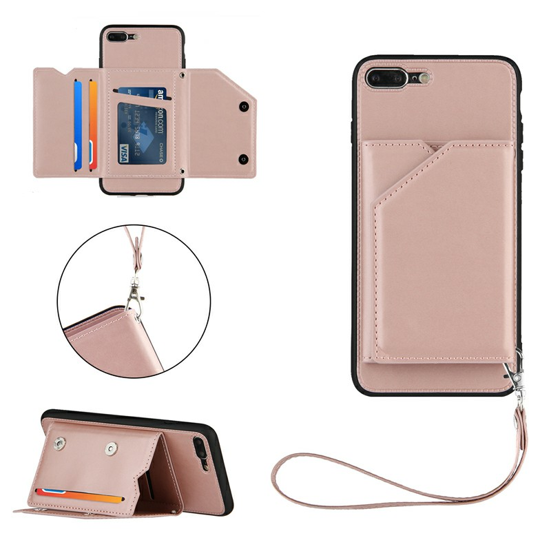 PU Leather Folio Stand Cover Case with Lanyard for iPhone 7 Plus and iPhone 8 Plus - Rose Gold