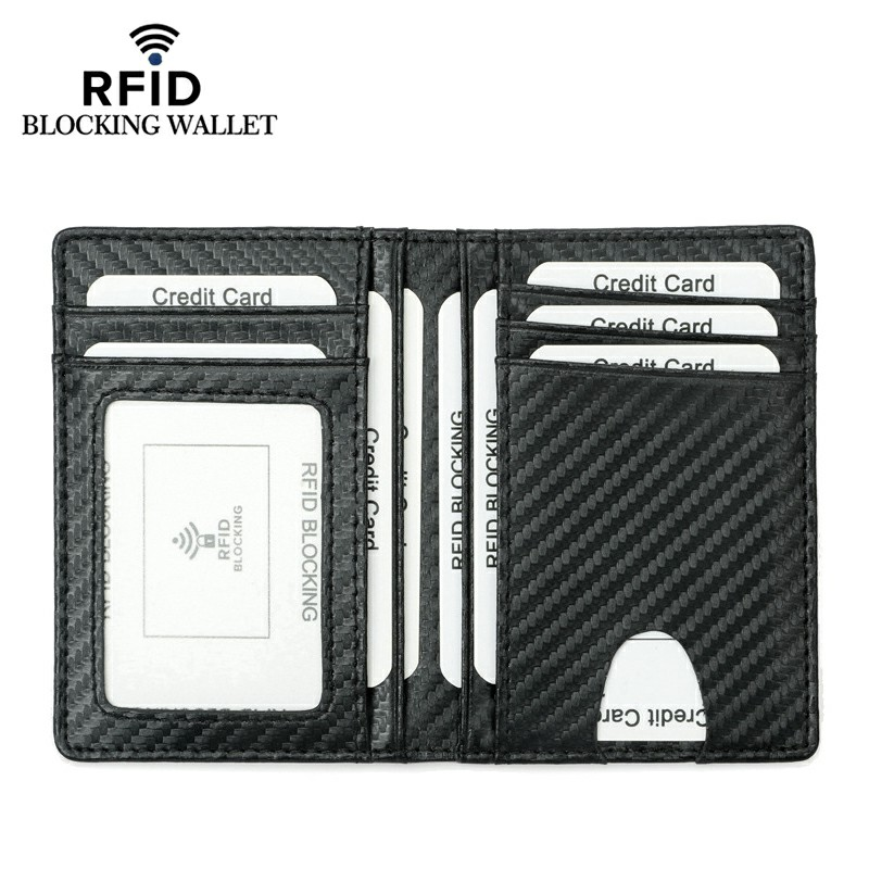 RFID Blocking Carbon Fiber Pattern Super Fiber Card Wallet