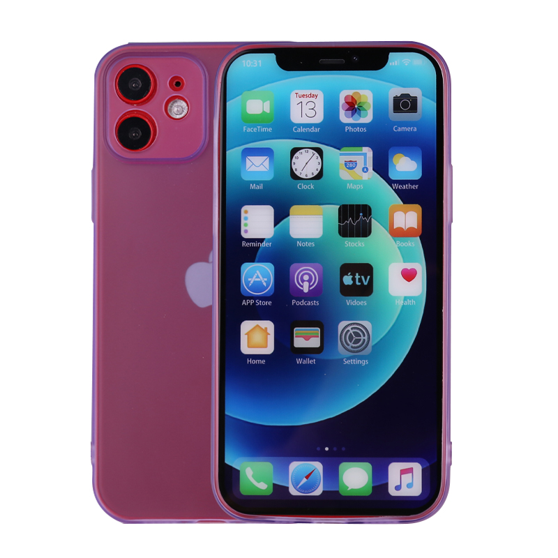 Slim Silicone TPU Case Protective Bace Cover for iPhone 12 - Purple