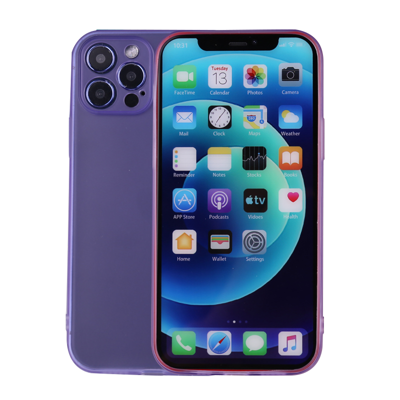 Slim Silicone TPU Case Protective Bace Cover for iPhone 12 Pro - Purple