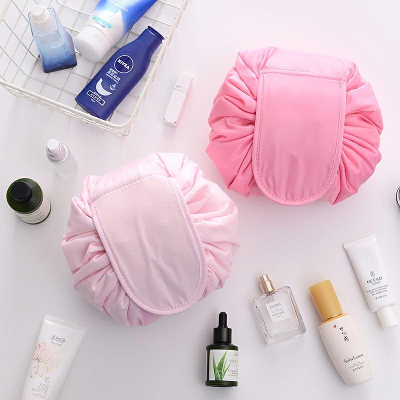 Drawstring Portable Travel Cosmetic Bag Makeup Toiletry - Pink