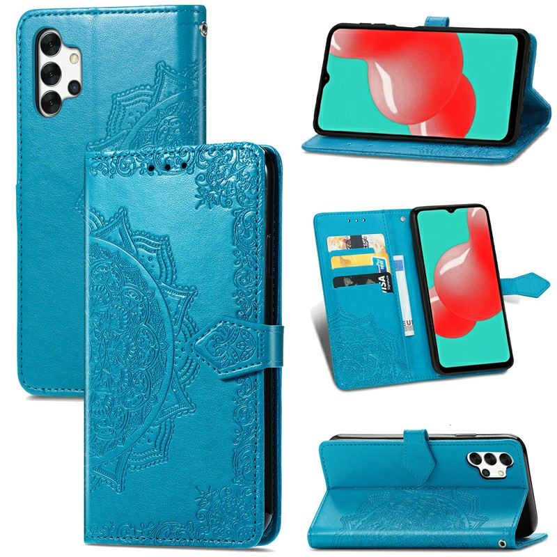 Datura Flower Embossed Pattern Leather Flip Stand Case for Samsung Galaxy A32 5G - Blue