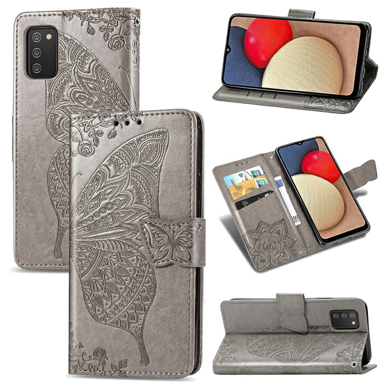 Butterfly Embossed Pattern Leather Flip Stand Case for Samsung Galaxy A02S - Grey