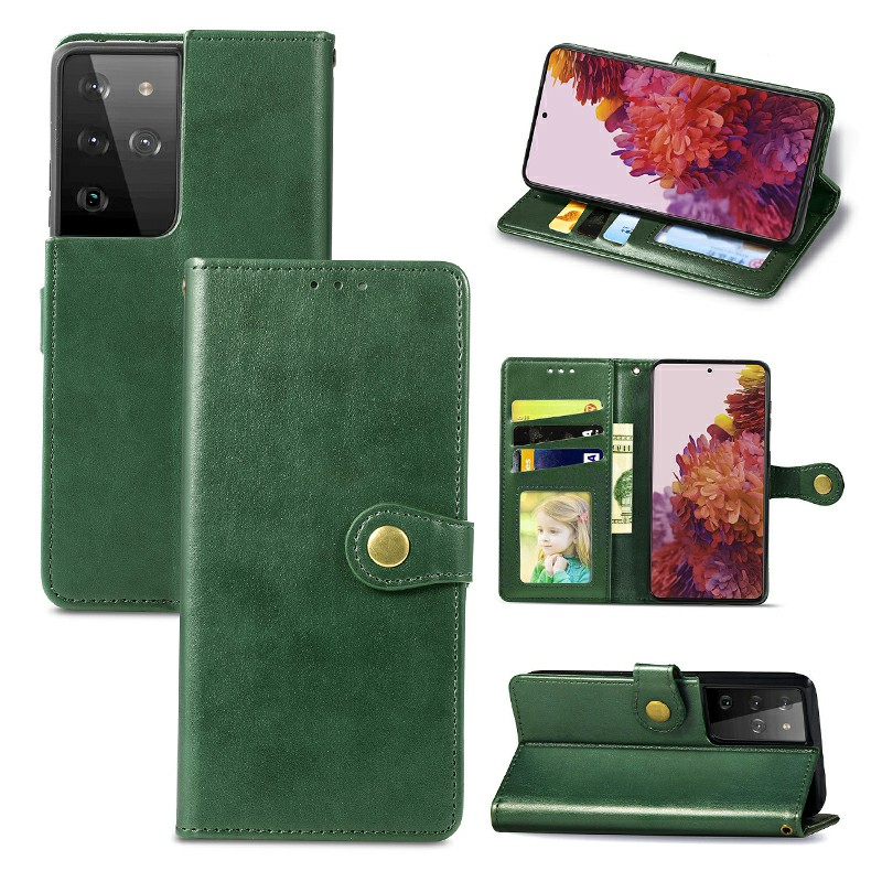 Magnetic PU Leather Wallet Card Case Cover for Samsung Galaxy S21 Ultra - Green