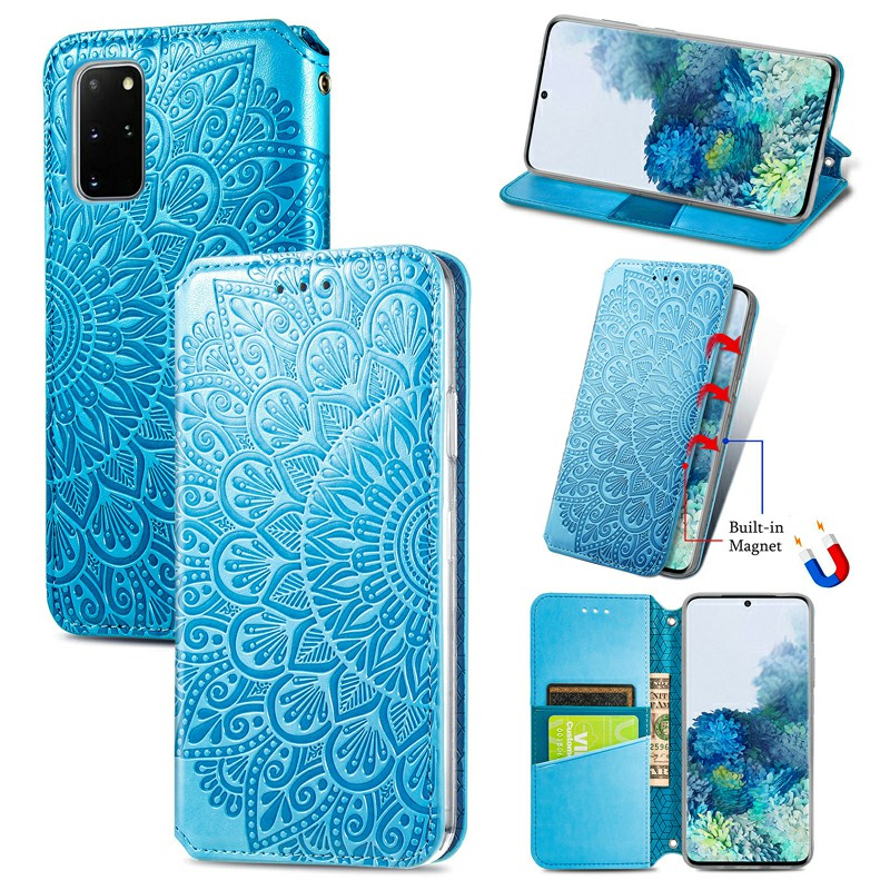 Wallet Card Case Magnetic PU Leather Cover for Samsung Galaxy S20 Plus - Blue