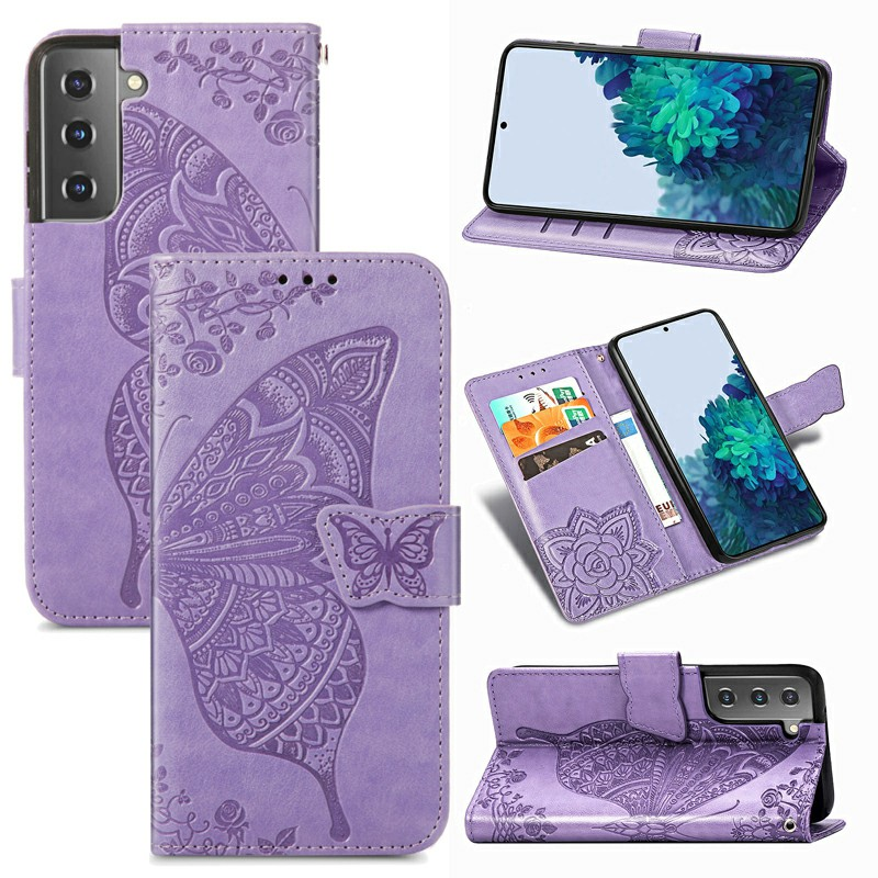 PU Leather Wallet Card Case Cover Fashion Clover Pattern for Samsung Galaxy S21 Plus - Purple