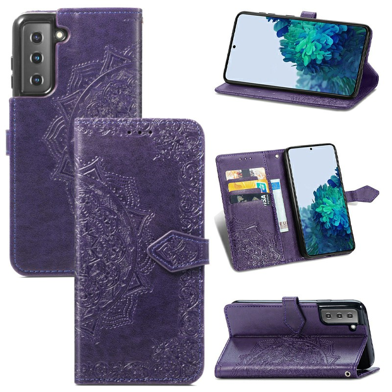 PU Leather Wallet Case Cover Fashion Four-leaf Clover Pattern for Samsung Galaxy S21 Plus - Purple