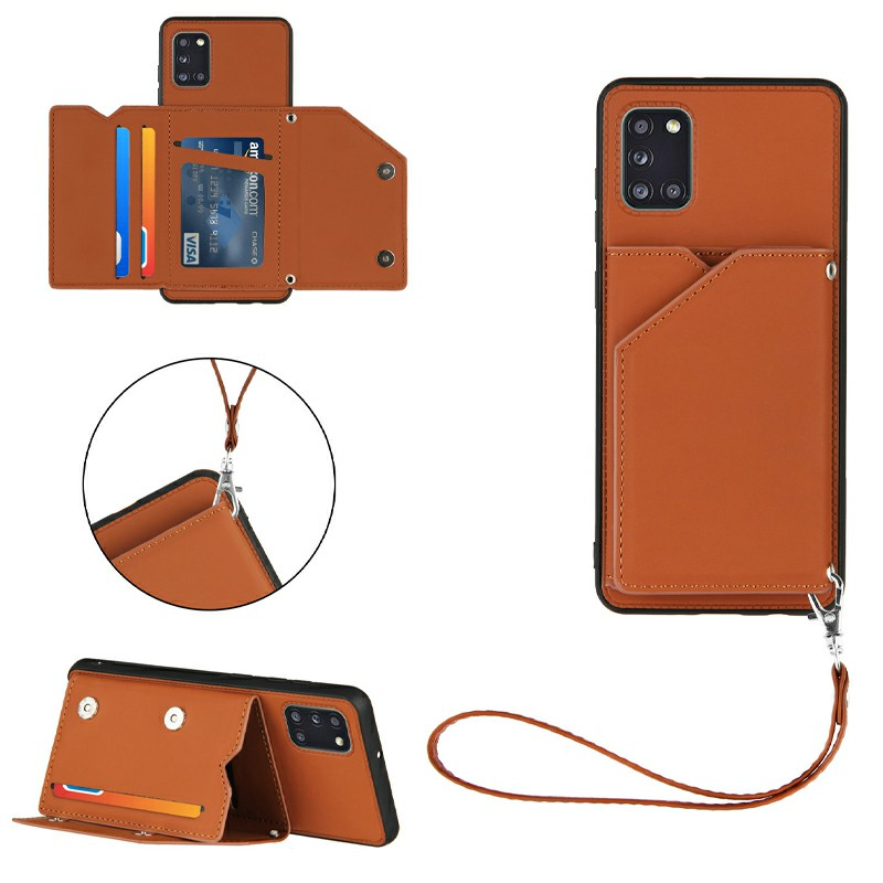 PU Leather Folio Stand Cover Case with Lanyard for Samsung Galaxy A31 - Brown