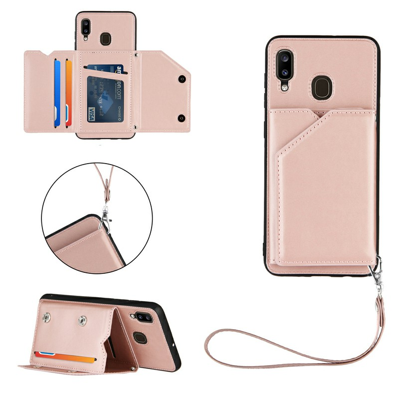 PU Leather Folio Stand Cover Case with Lanyard for Samsung Galaxy A20/A30 - Rose Gold